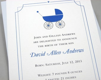 Birth Announcement Blue Baby Carriage Traditional Baby Shower Invitation Adoption Baby Buggy