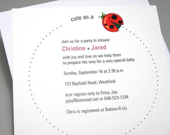 Baby Shower Invitation Custom Adoption Modern Red Ladybug Cute Announcement