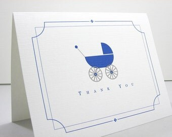 Thank You Note Card Blue Baby Carriage Thanks Birth Announcement Gift Baby Buggy