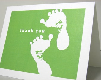Baby Thank You Note Card Baby Footprints Bright Green Announcement Thanks Birth Gift