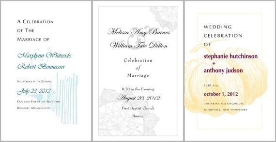 Fall Wedding Program Booklet Sunny Yellow Birch Ribbon Tie Golden Leaves Autumn