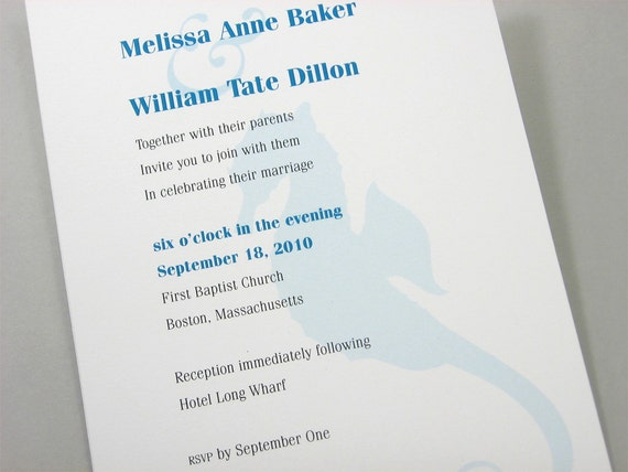 Beach Wedding Invitation Teal Seahorse Sea Shell Ocean Casual Invite Seashore Wedding Custom