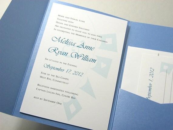 Beach Wedding Invitation Pocketfold Invite Blue Nautical Signal Flags Seashore Wedding Custom Wedding Blue Beach