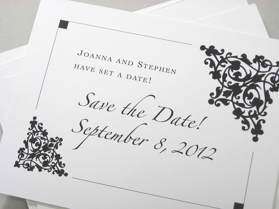 Save the Date Cards Custom Traditional Damask Black and White Classic Wedding Frame Scroll Elegant Script