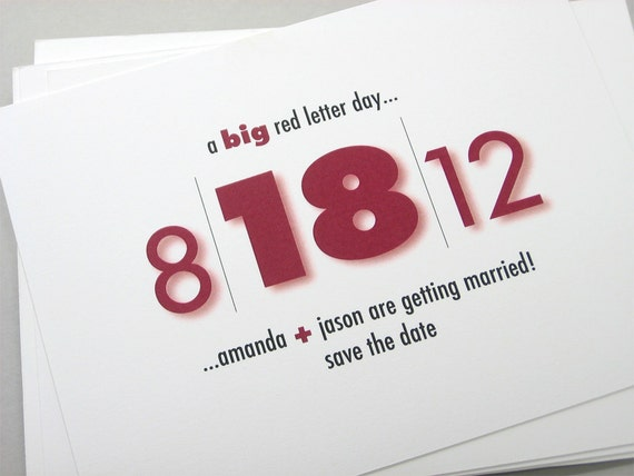 Bold Red Save the Date Cards Custom Text Big Bold Modern Wedding Contemporary Casual Quirky