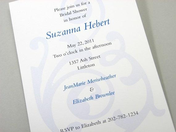 Traditional Bridal Shower Invitation Elegant Classic Blue Flourish Damask Custom Invitation Wedding Shower