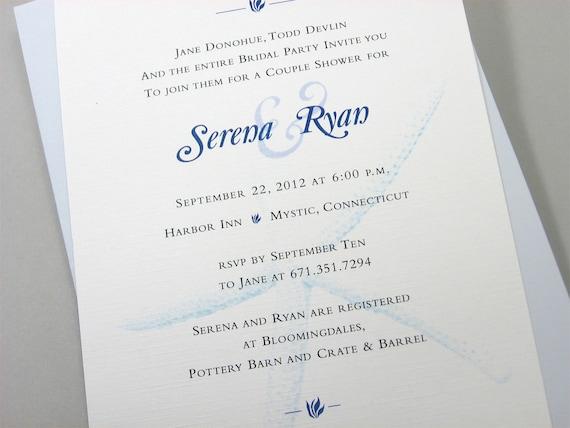 Beach Wedding Couple Shower Invitation Custom Blue Starfish Seashell Ocean Tide Seaside Wedding
