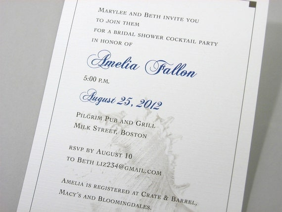 Beach Bridal Shower Invitation Custom Seashell Beach Shell Blue Traditional Seashore Wedding Classic Ocean
