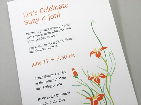 Couple Wedding Shower Invitation Custom Orange Lilies Flowers Yellow Green