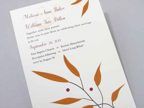 Fall Wedding Invitation Rusty Leaves Crimson Red Berries Ribbon Wrap Autumn Casual Wedding Golden Brown