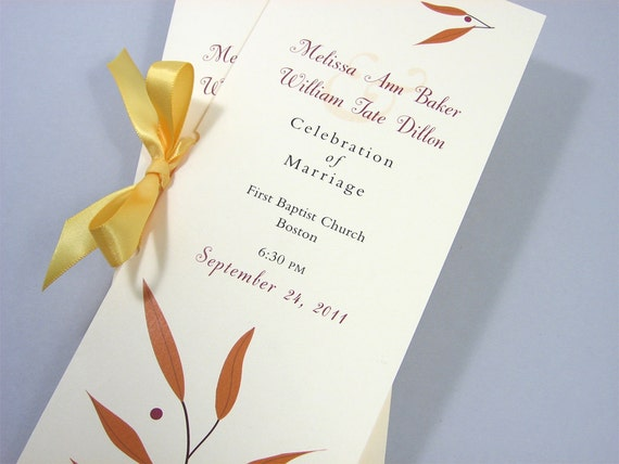 Fall Wedding Ceremony Program Booklet Autumn Leaves Gold