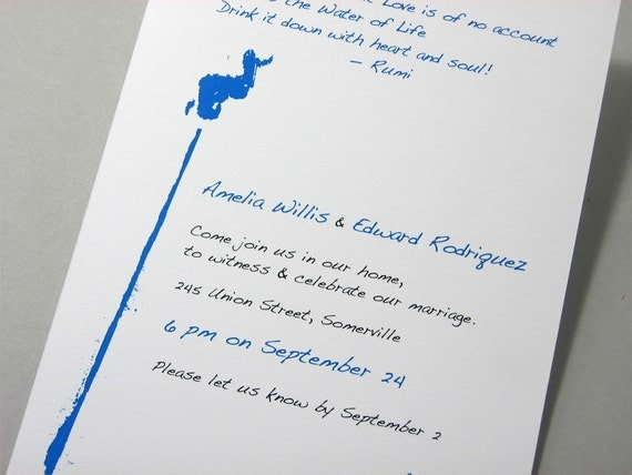 Quirky Modern Wedding Invitation Custom Text Rumi Poem Blue Ink Blot Quotation Song Lyrics Casual Invitaion