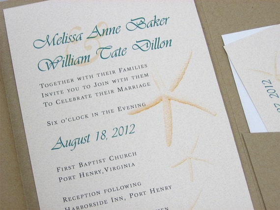 Starfish Wedding Invitation Kit: Custom Beach Wedding Invitation Pocketfold Recycled Natural