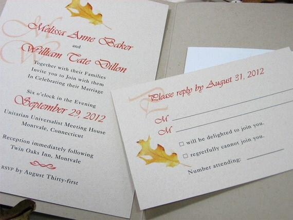 Fall Wedding Pocketfold Invitation Custom Autumn Natural Recycled Oak Leaf Acorn Gold Orange Natural Twine