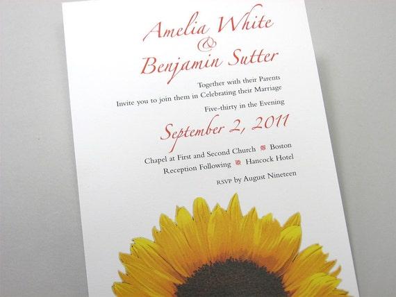 Sunflower Wedding Invitation Bold Yellow Sunflower Fall Wedding Autumn Invitation Flower Gold