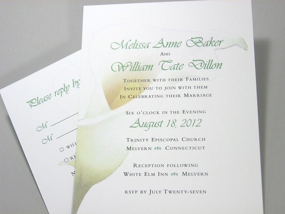 Wedding Invitation Calla Lily Flower Custom Traditional Classic Delicate Yellow Floral