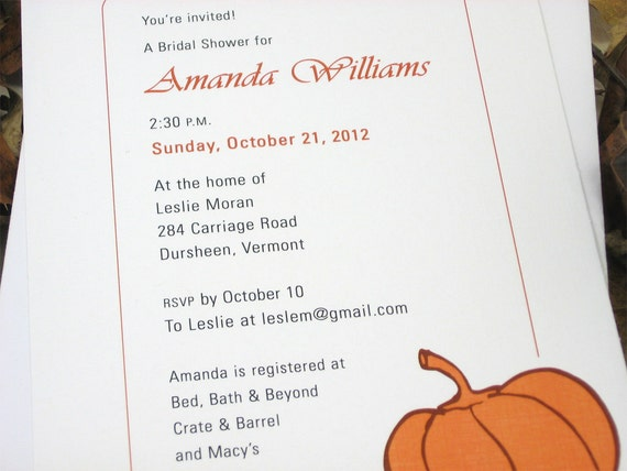 Fall Bridal Shower Invitation Custom Bold Orange Pumpkin Autumn Harvest Brown Rust Casual Wedding