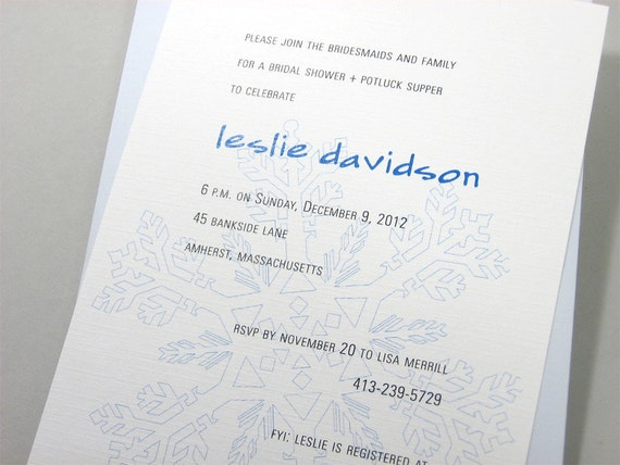 Winter Bridal Shower Invitation Custom Blue Snowflake Shadow Holiday Bridesmaids