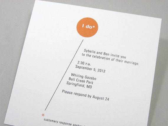 Custom Wedding Invitation Modern Bright Orange Circle Bold Geometric Quirky