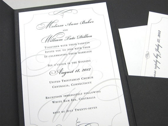 Traditional Elegant Wedding Invitations: Elegant Wedding Invitation Traditional Black And White Custom