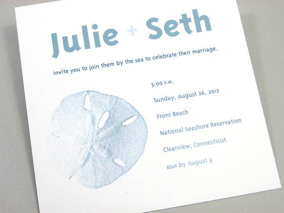Beach Wedding Invitation Bold Modern Blue Sand Dollar Sea Shells Custom Pocketfold Contemporary Casual Oceanside Celebration
