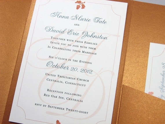 Traditional Elegant Wedding Invitations: Fall Wedding Invitation Custom Pocketfold Elegant Traditional