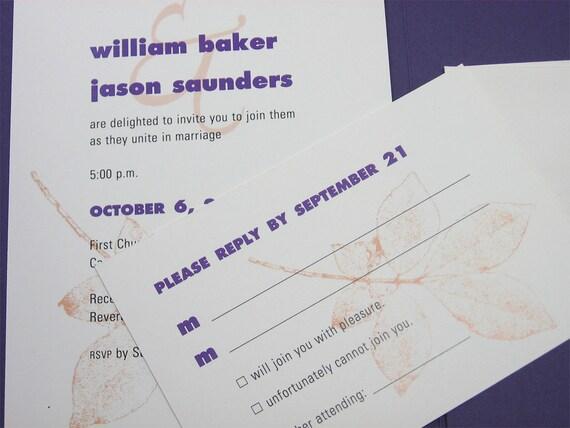 Fall Wedding Invitation Custom Pocketfold  Casual Invite Rust Leaves Purple Pocket Belly Band Bold Tree Branch