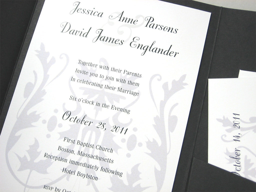 Black And Silver Wedding Invitations: Wedding Invitation Elegant Black White Silver Gray Pocketfold