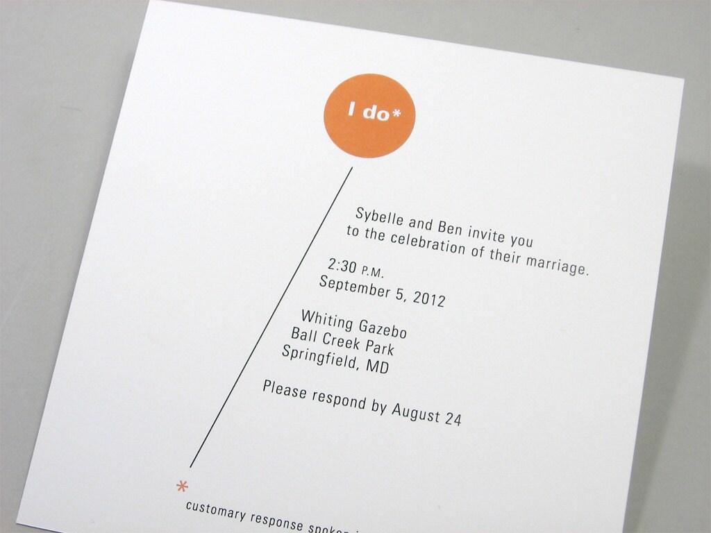 Bright Wedding Invitations: Custom Wedding Invitation Modern Bright Orange Circle Bold