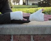 Fingerless Gloves, Angora/wool, white