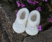 Baby Booties, Angora/wool, white, newborn