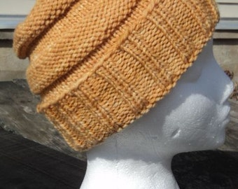 Knit Hat for Child, Youth Knit Hat, Yellow Hat, Small Adult Knit Hat, Child's Winter Hat