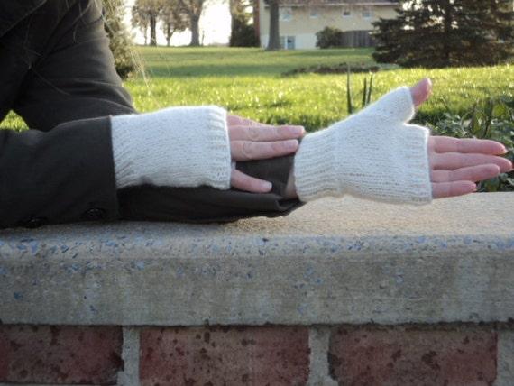 Fingerless Gloves, Angora/wool, white