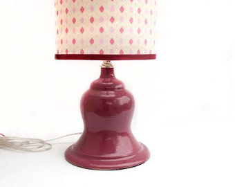 Rose Pink Ceramic Lamp and Shade, OOAK