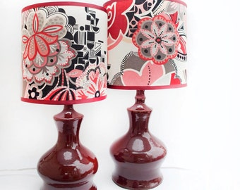 Pair of Merlot ceramic lamps and shades, OOAK