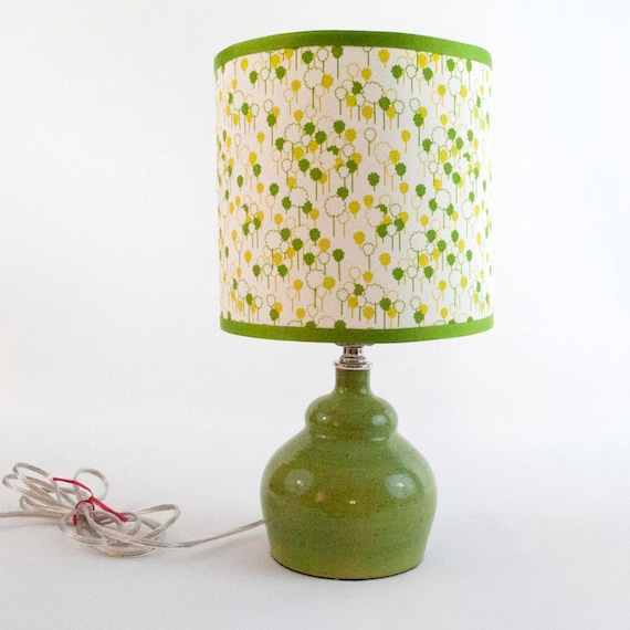 Chartreuse Ceramic Lamp with Tree Lampshade