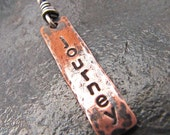 Rustic Copper & Sterling Silver Hand Stamped Charm. Design Your Own Necklace. Can Be Personalized.