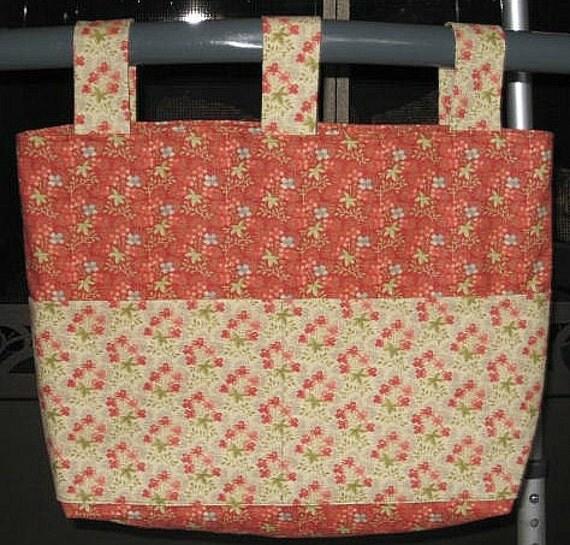 Dark Salmon Floral Walker Bag w/Contrasting Floral Pockets