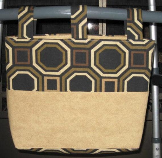 Black & Brown Large Pattern Walker Bag w/Beige Pockets
