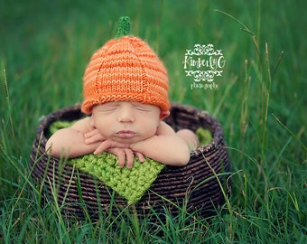 Baby Halloween Knit Pattern - Knit Baby Pumpkin Hat Pattern - Knit Pumpkin Hat Pattern - Pumpkin Hat Pattern