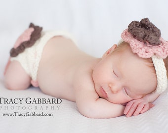Layered Flower Diaper Cover and Headband Set Knitting Pattern - PDF Sale - Instant Digital Download