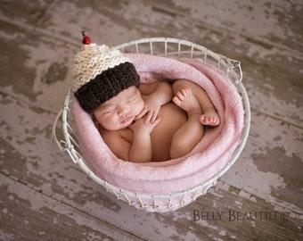 Cupcake Hat Knitting Pattern - Knit Baby Cupcake Hat - Newborn Photo Prop Pattern - Kid Cupcake Hat Pattern - Girl Hat Knitting Pattern