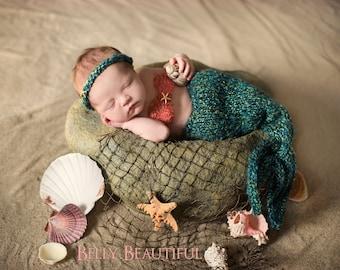Newborn Mermaid Blanket Knitting Pattern - Baby Mermaid Blanket Knitting Pattern - Knit Mermaid Tail Photo Prop Pattern
