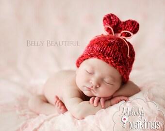 Valentine's Day Hat Knitting Pattern - Baby Valentines Day Knit Pattern - Baby Knitting Pattern - Heart Hat Pattern - Newborn Photo Prop