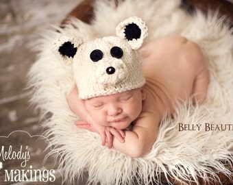 Polar Bear Hat Knitting Pattern - Sizes Newborn through Adult Male Included - PDF Sale - Instant Digital Download