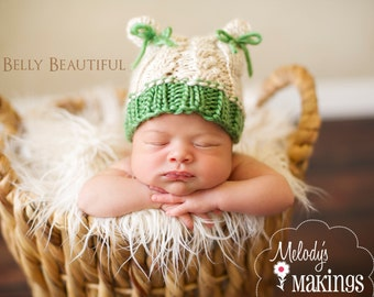 Cabled Bear Hat Knit Pattern - Newborn, Baby, Toddler Sizes - Instant Digital Download