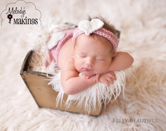 Sweetheart Diaper Cover and Headband Set Knitting Pattern - PDF Sale - Instant Digital Download