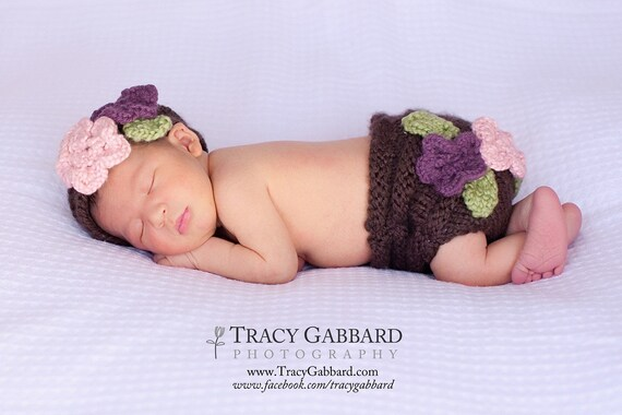 Knit Floral Diaper Cover and Headband Set Pattern - PDF Sale