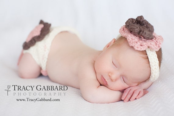 Layered Flower Diaper Cover and Headband Set Pattern