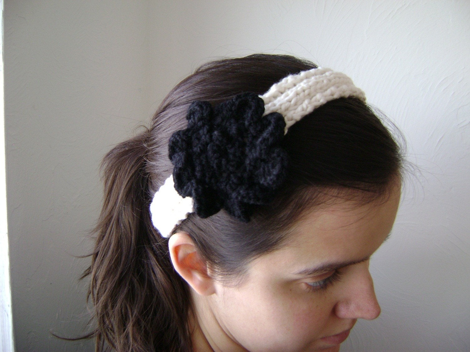 Ribbed Headband Knitting Pattern : Knit Ribbed Headband with Flower Pattern PDF by MelodysMakings